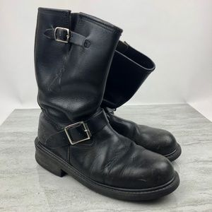 Dickies Men's Black Leather Motorcycle Boots